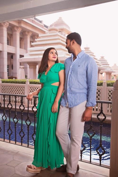 Chill Poolside Pre-wedding Shoot before ITC Grand Bharat Wedding