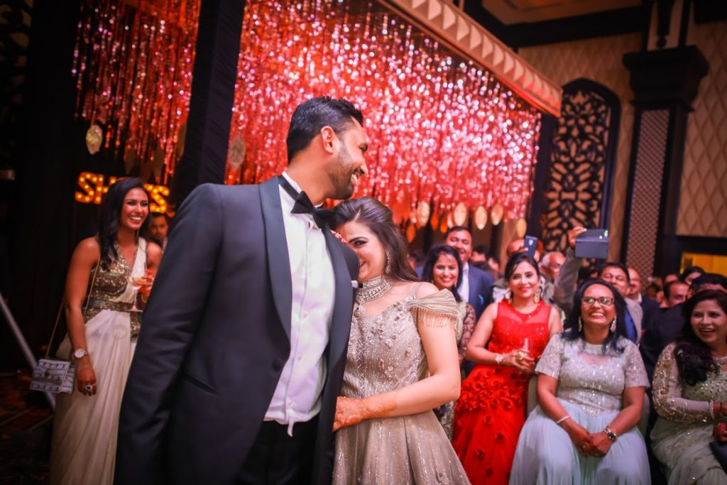 Adorable Candid Shot of Aakriti & Hitesh from their Glamorous Cocktail Party at ITC Grand Bharat, Gurgaon
