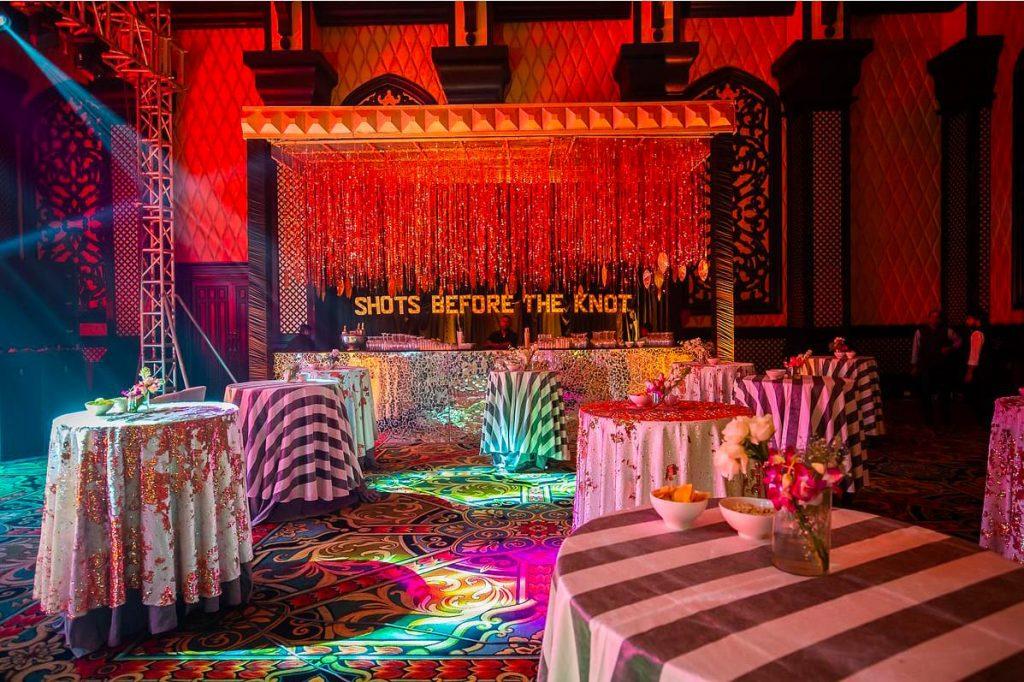 Glam ITC Grand Bharat Wedding's Cocktail Party Decor