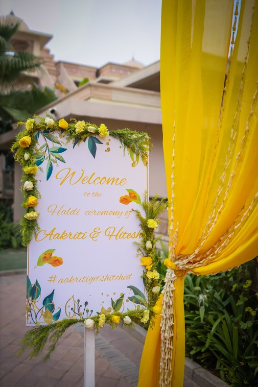 ITC Grand Bharat Wedding's Haldi Welcome Signboard