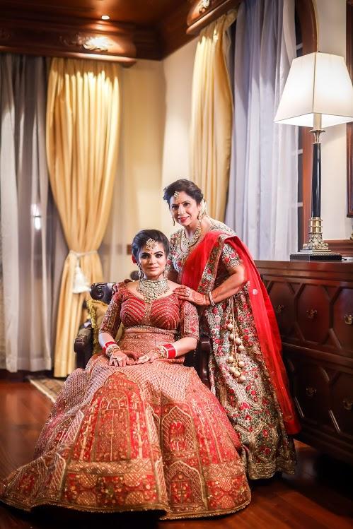 Pre-wedding Bridal Photoshoot with Mother at ITC Grand Bharat, Gurgaon