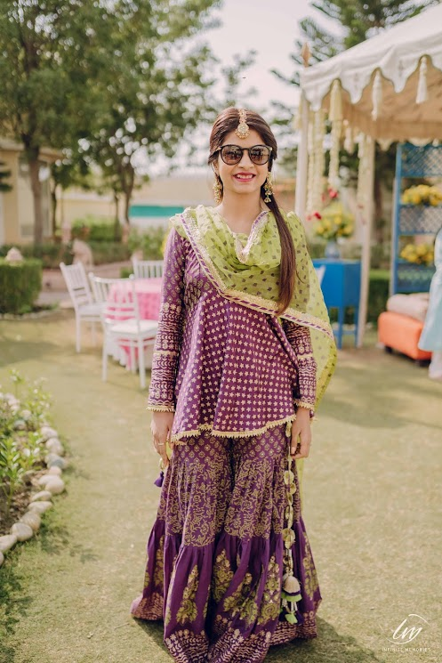 Akansha in Purple sherara and kurta for her Bridal Mehendi in Ranchi