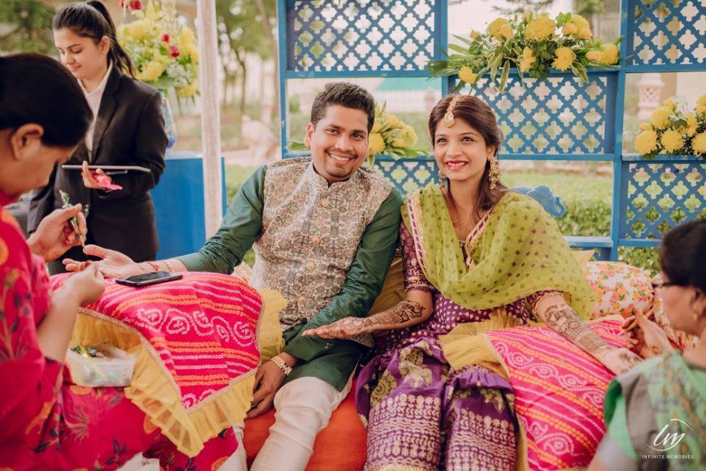Glowing Ankit & Akansha at their Bridal Mehendi in Ranchi before Royal Marwari Wedding in Jaipur