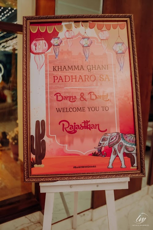 'Welcome to Rajasthan' Signboard for Akansha & Ankit's Royal Marwari Wedding