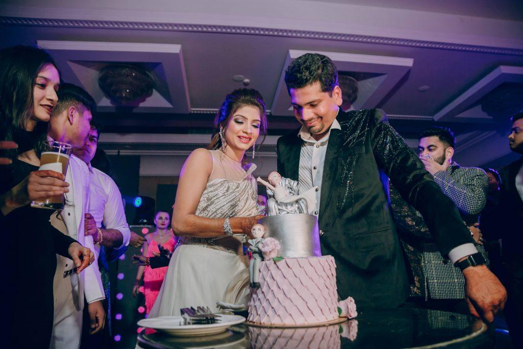 Cake Cutting Snapshots from Ankit & Akansha's Smashing Cocktail Party from Royal Marwari Wedding in Jaipur