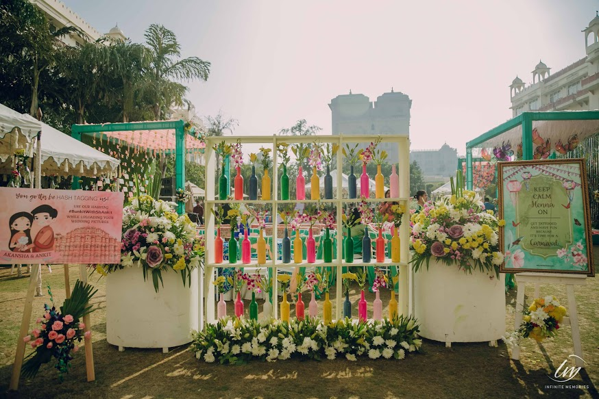 Beautifully decorated Le Meridien Jaipur for Akansha & Ankit's Pastel Themed English Carnival from their Royal Marwari Wedding in Jaipur