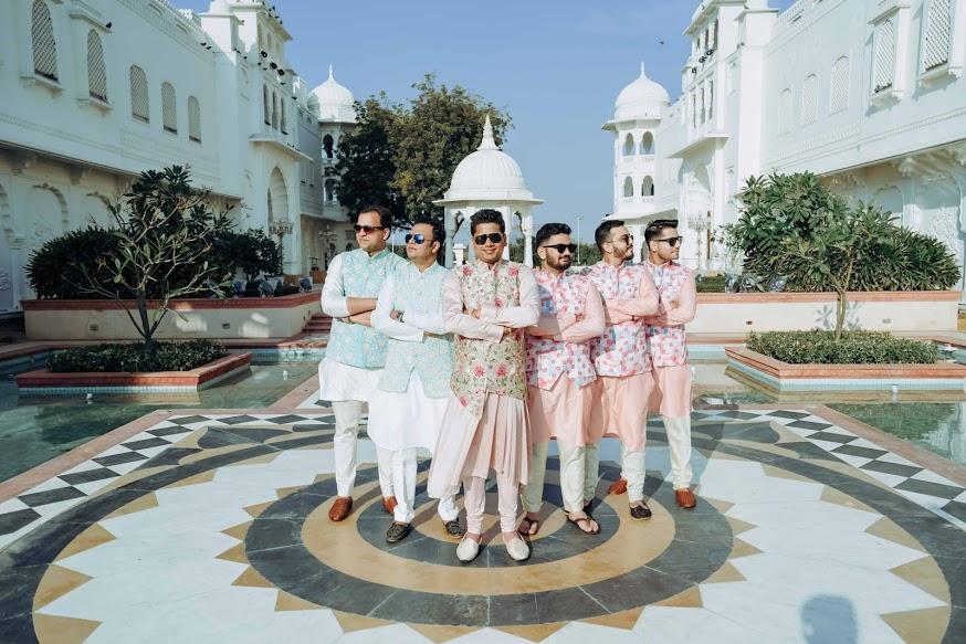 Photoshoot with Matching Groomsmen at this Royal Marwari Wedding in Jaipur