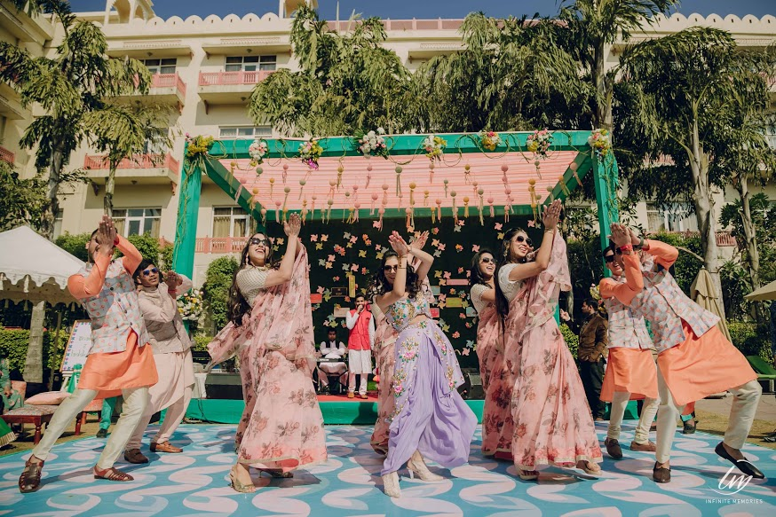 Surprise Flash Mob at English Carnival of this Palace Destination Wedding in Jaipur
