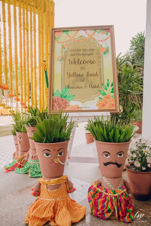 Welcome Signboard for Ankit & Akansha's Royal Marwari Wedding's Haldi Ceremony at Le Meridien Jaipur