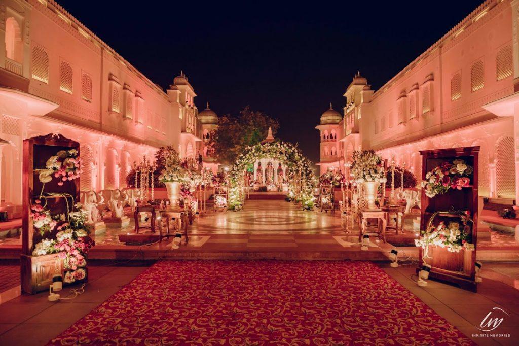 The Gulmohar Jaipur decorated majestically for Akansha & Ankit's Royal Rajasthani Wedding