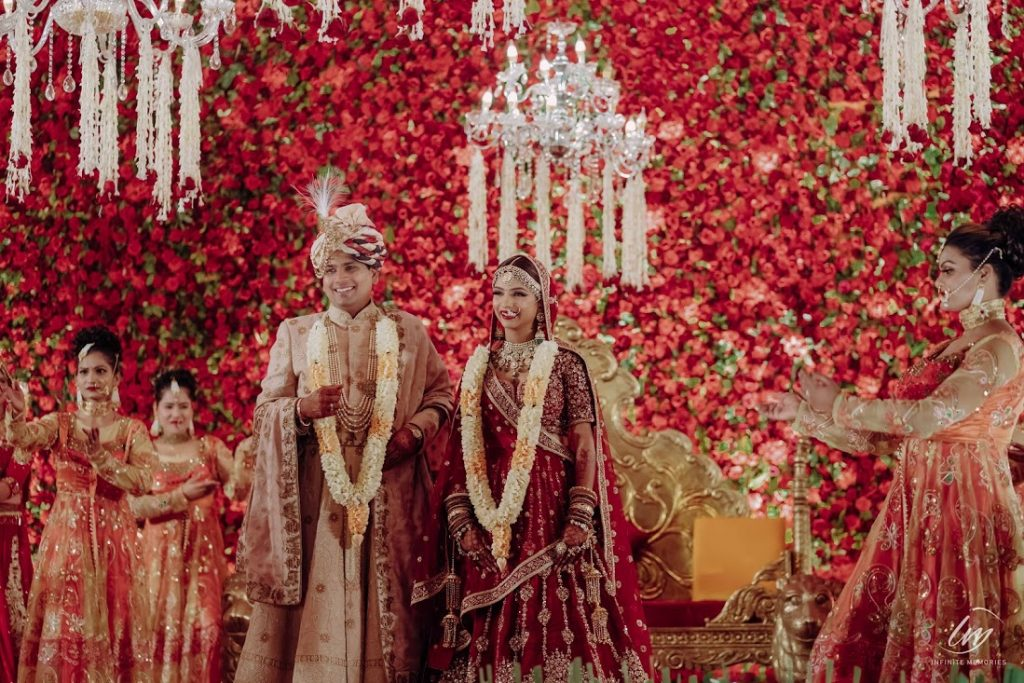 Akansha & Ankit's Post Wedding Photography by the remarkably decorated stage of The Gulmohar Jaipur