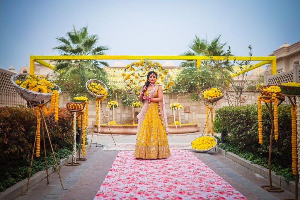 Aakriti's Beautiful Haldi Entry with floral umbrella at ITC Grand Bharat, Gurgaon