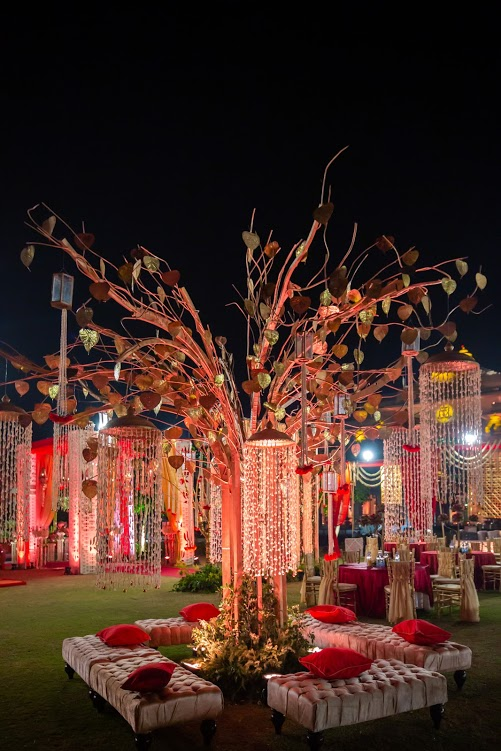 Sabyasachi Type Red & White ITC Grand Bharat Wedding Decor