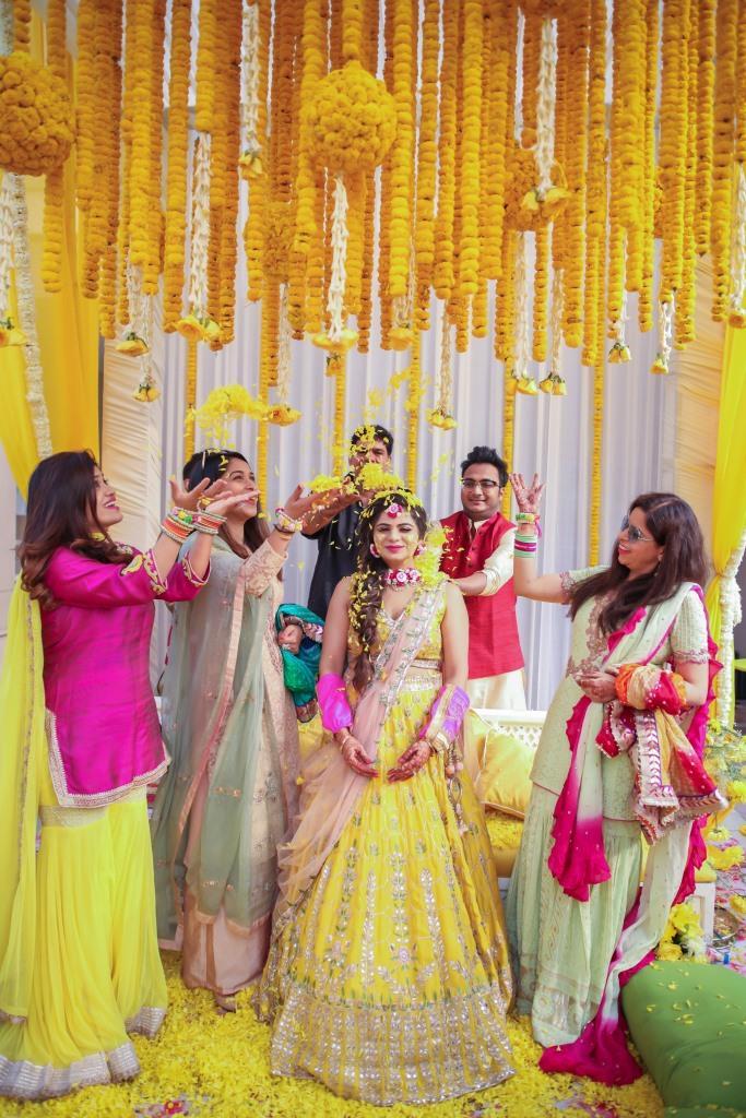 Haldi Shot Ideas with Bridesmaids