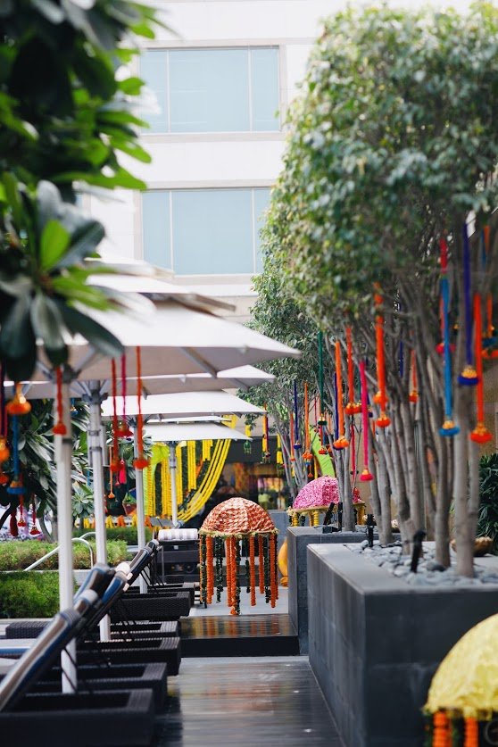 Beautiful Indoor-Outdoor Haldi Party Decor done at Crowne Plaza Gurgaon Wedding