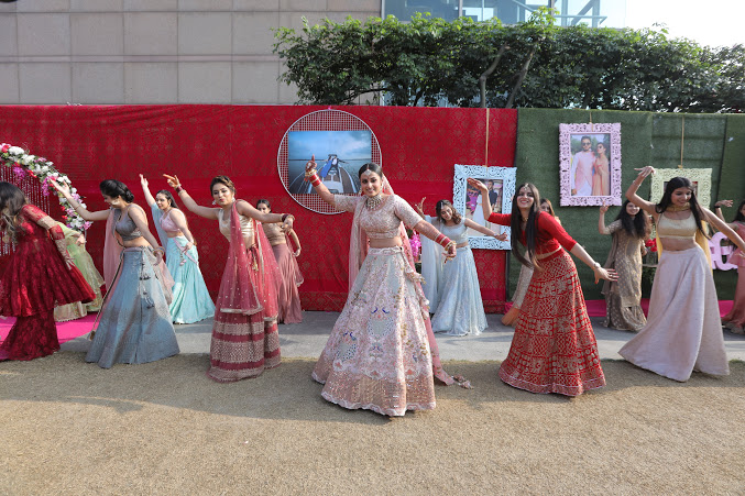 Best Bridal Entry with Bridesmaids dancing at this luxury wedding at Crowne Plaza, Delhi