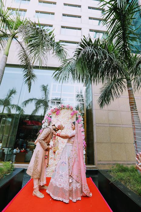 Beautiful Varmala Ceremony Shot captured at Crowne Plaza, Delhi