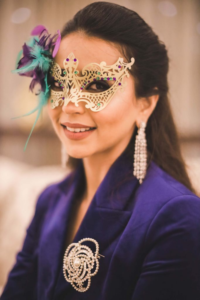 Bridal Portrait captured at Masquerade Themed Welcome Dinner Party at Aahana & Tarun's Destination Wedding in Dubai