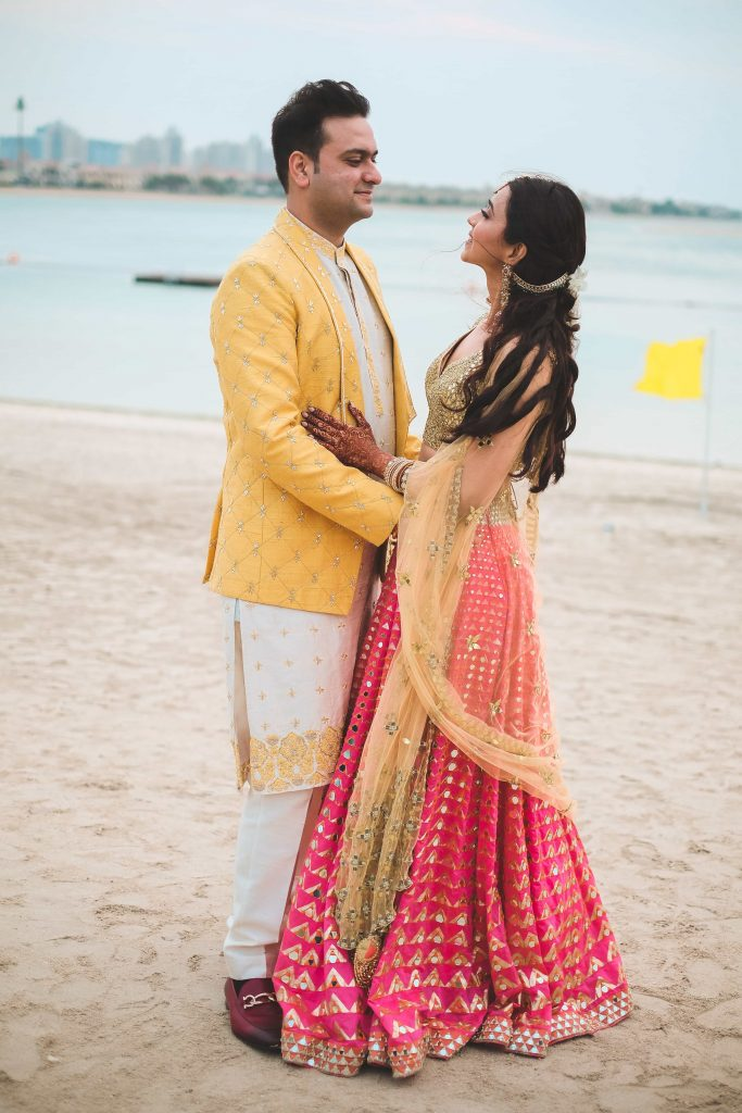 Beachside Photoshoot at Destination Wedding in Dubai's Mehendi Ceremony at Waldorf Astoria Dubai