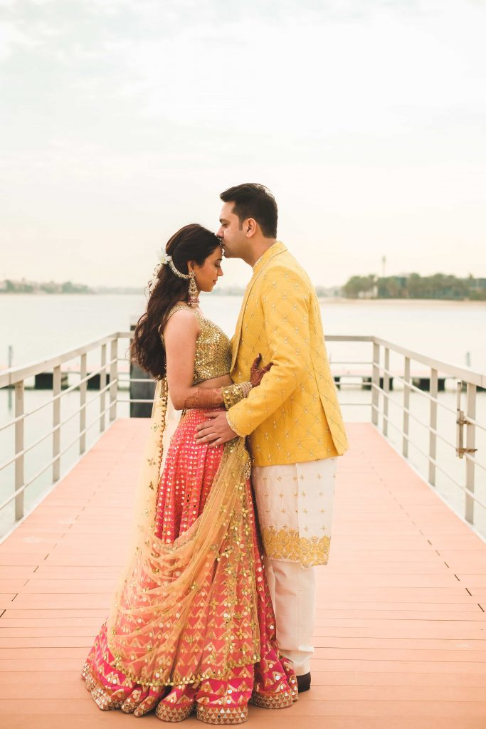 Romantic Couple Portraits with the wedding couple in stunning ethnic wear from Destination Wedding in Dubai at Waldorf Astoria Dubai