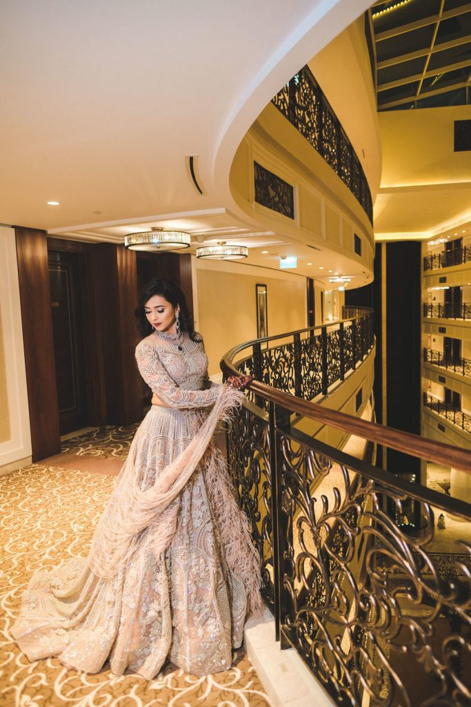 Aahana looking in a dazzling gown by Falguni Shane Peacock for her Cocktail Night before Dubai Destination Wedding