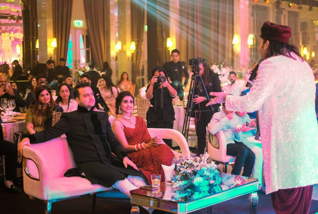 Shadab Faridi performing at Aahana & Tarun's Reception Party post Indian Destination Wedding in Dubai