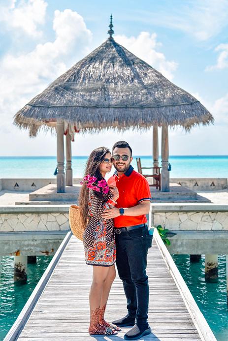 Beachside Photoshoot for Somi & Yash's Honeymoon in Maldives post mayfair Raipur Wedding