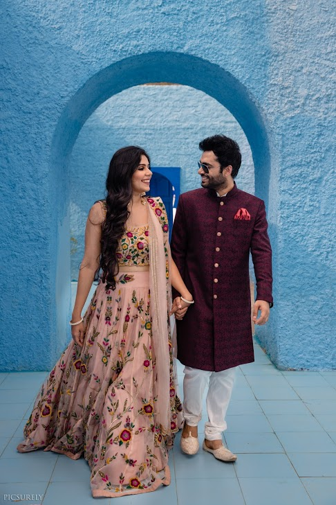 Indian Pre-wedding Shoot with the couple in ethnic wear