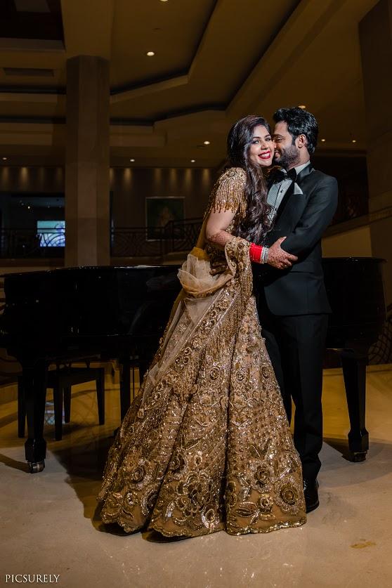 Adorable Wedding Reception Portrait of Harsha & Kunal captured post their Sea Princess Juhu Wedding