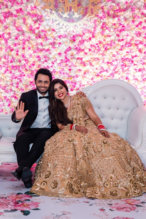 Tradition Wedding Couple portraits of Kunal & Harsha clicked at their Classy Ivory and Pastel Themed Reception