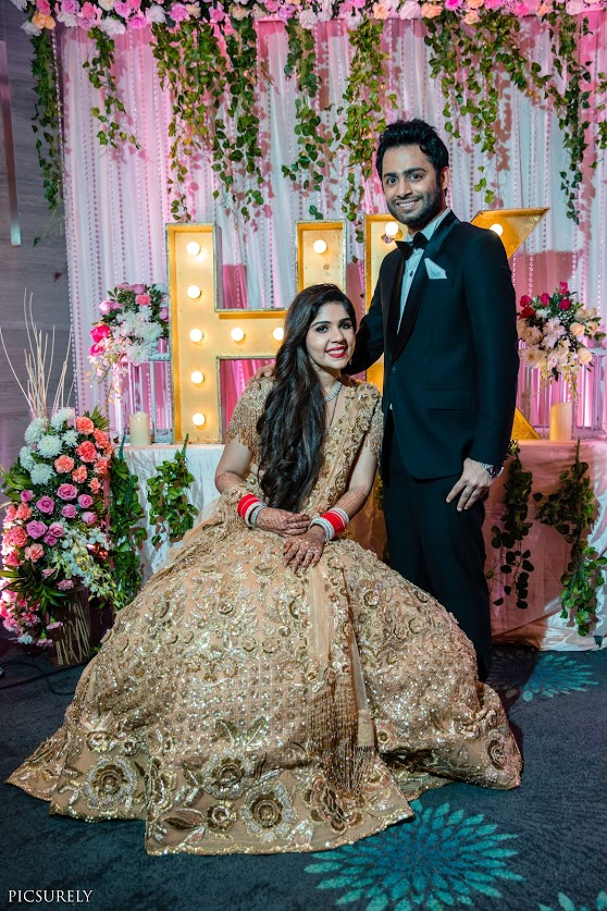 Kunal and Harsha in Indo-western outfits for their Classy Pastel Themed Reception in Mumbai