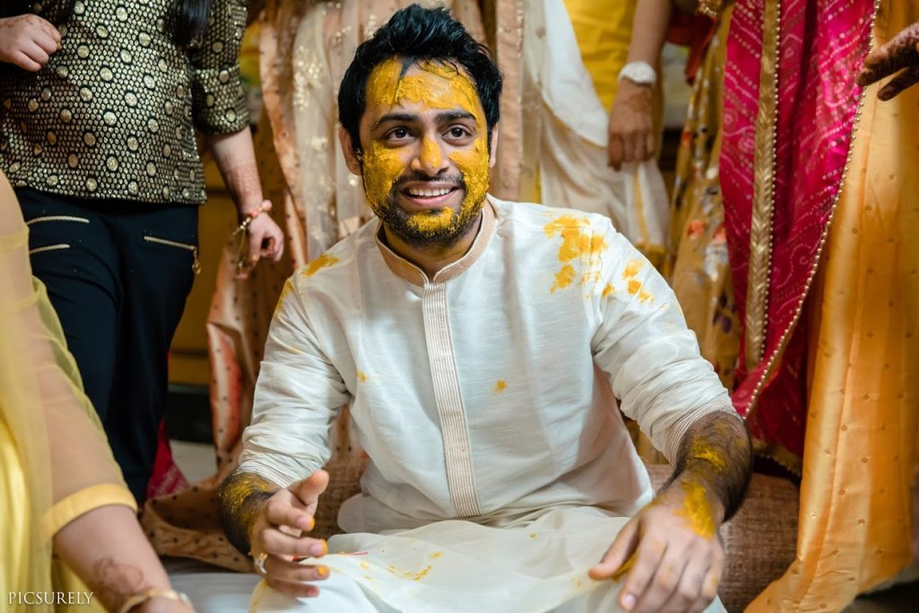 Kunal's Haldi Function Picture clicked before his beach wedding in Mumbai