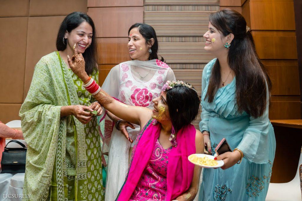Haldi Fun with Bridesmaids before luxury wedding at Sea Princess Beach Resort