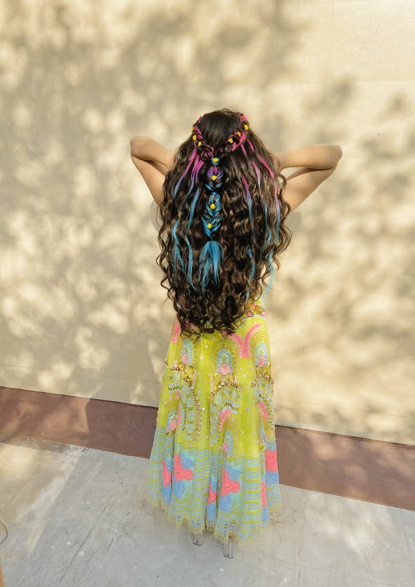 Colourful Hair extensions bridal Hairstyle of Harsha for her Mehendi Party at home