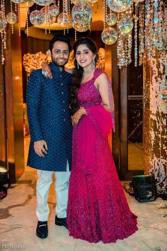 Sangeet Couple Portrait captured at JW Marriott Juhu Mumbai