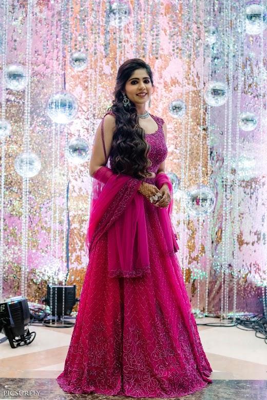 Harsha in pink Kresha Bajaj lehenga at her Bling Themed rocking Sangeet Function in Mumbai