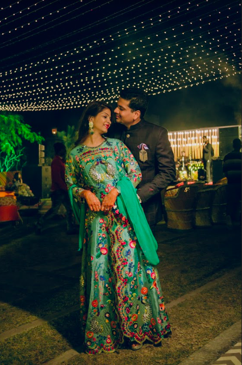 Adorable Still Shot of Ankit & Akansha captured from their royal Marwari wedding's welcome dinner party at Le Meridien Jaipur