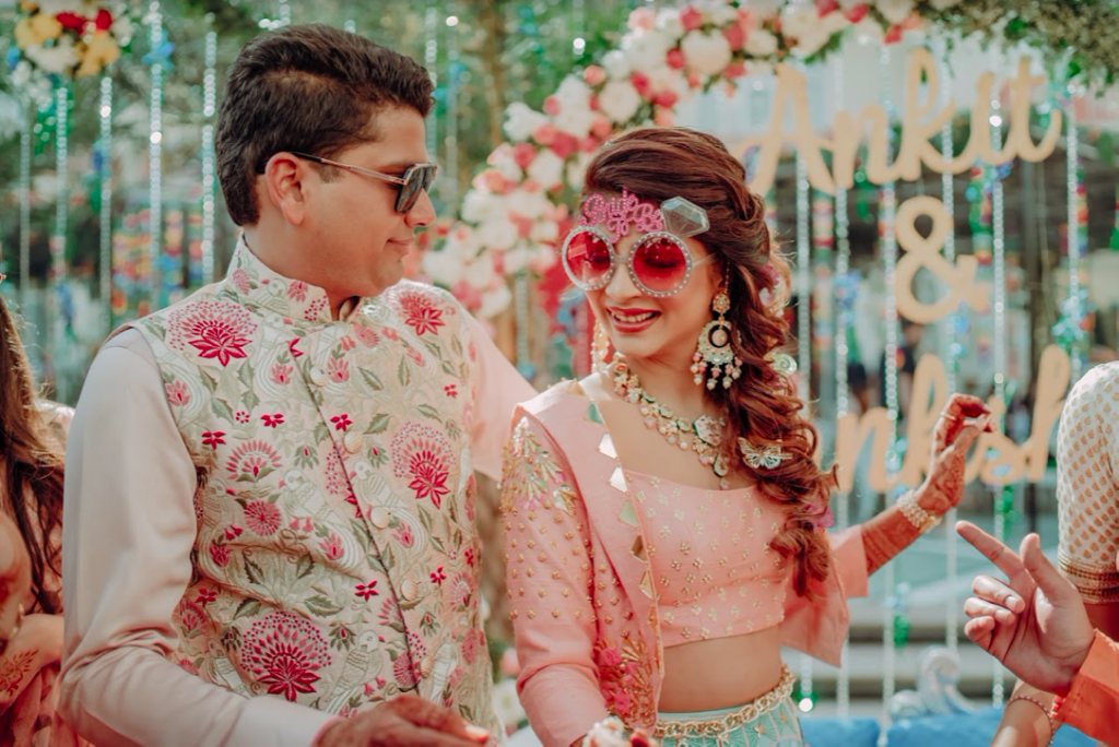 Stunning Akansha & Ankit in pastel themed outfits for their English Carnival before the Royal Marwari Wedding