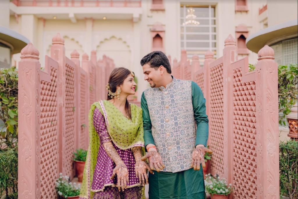Akansha & Ankit's Super Cute Mehendi Ceremony Portrait captured in Ranchi before their grand Royal Marwari Wedding in Jaipur