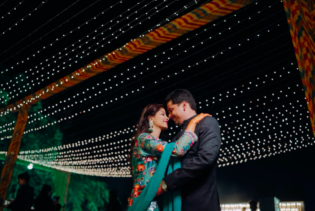 Stunning Portrait of the wedding couple from royal Marwari wedding in Jaipur's Welcome Dinner Party