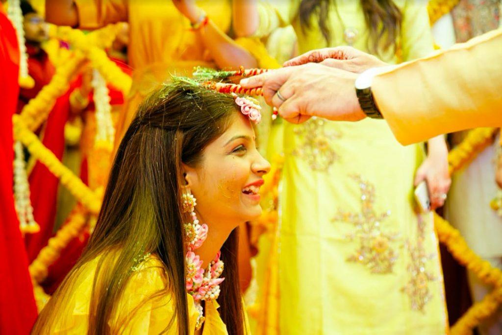 Haldi Candids from Palace Destination Wedding in Jaipur