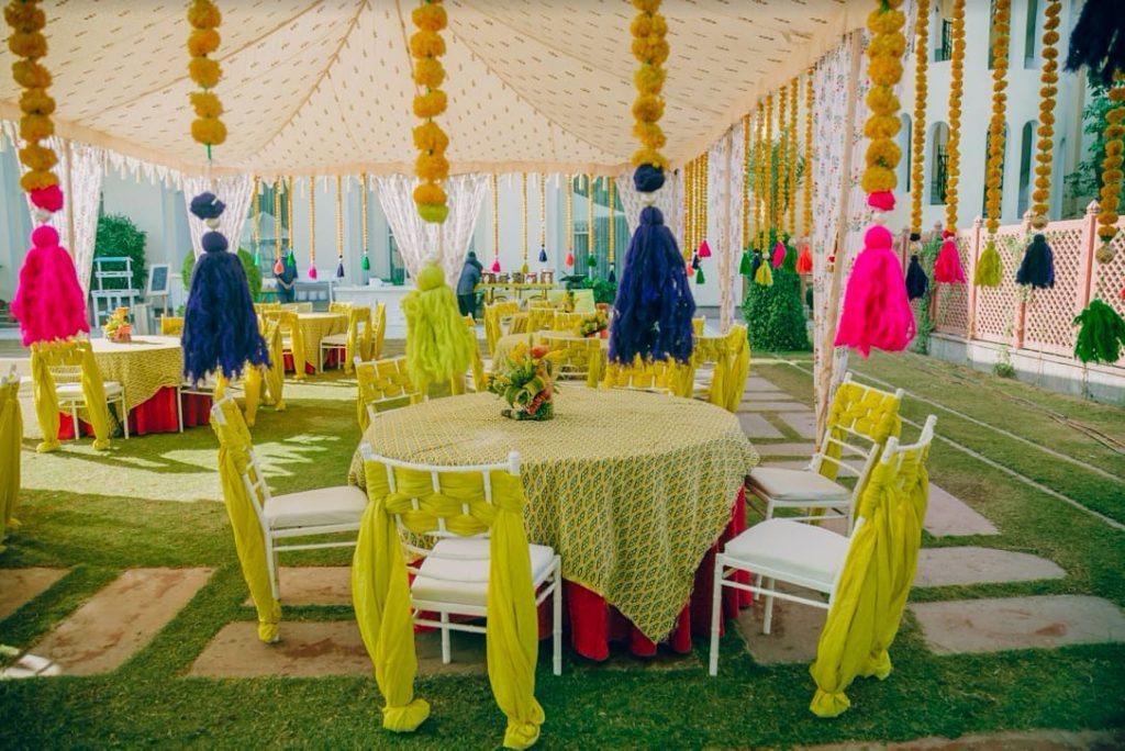 Creative Haldi Decor for Akansha & Ankit's Haldi Party at Le Meridien Jaipur