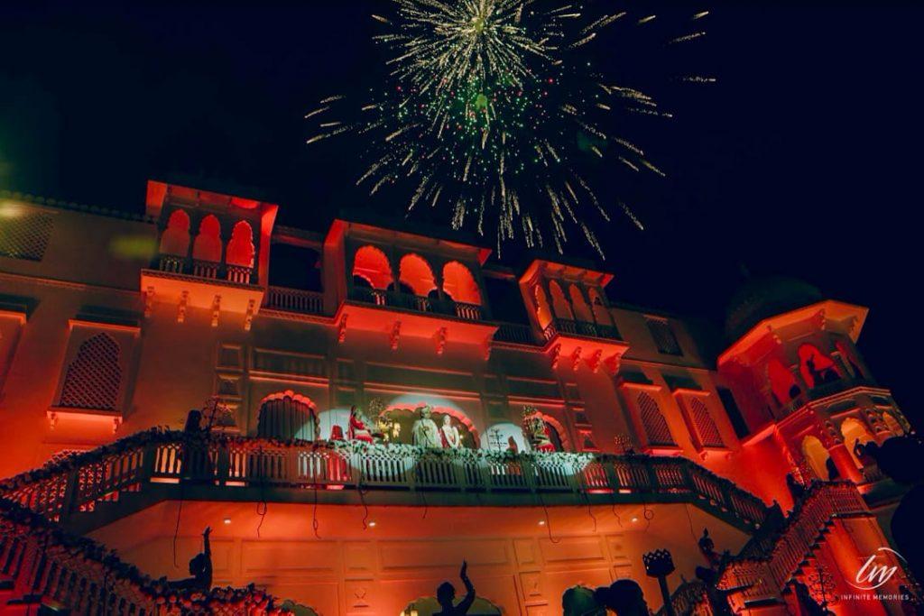 Royal Varmala Ceremony at The Gulmohar Jaipur followed by fireworks