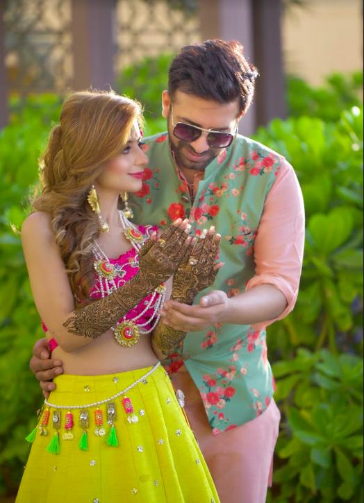Mehendi Ceremony Couple Portraits of Kanika and Saurav shot at Fairmont Ajman Dubai