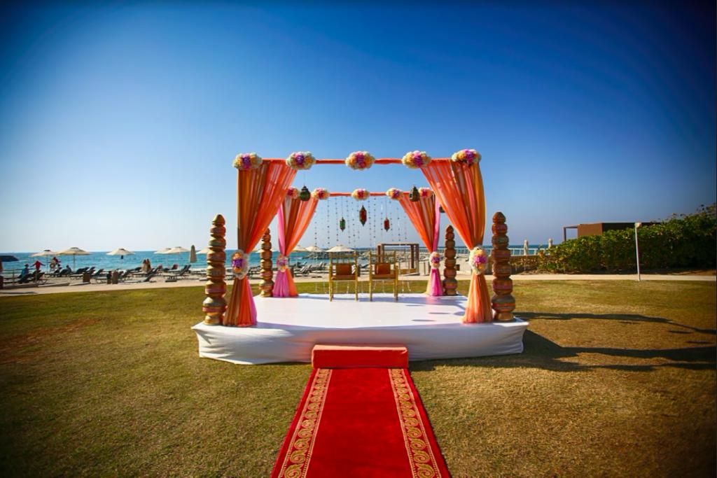 Stunning Beach Side Mandap Decor at Fairmont Ajman Wedding