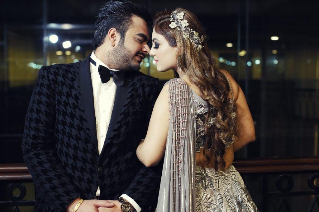 Wedding Couple Portrait Photography for this Big fat Punjabi Wedding's Cocktail Party at Udman Hotel Delhi