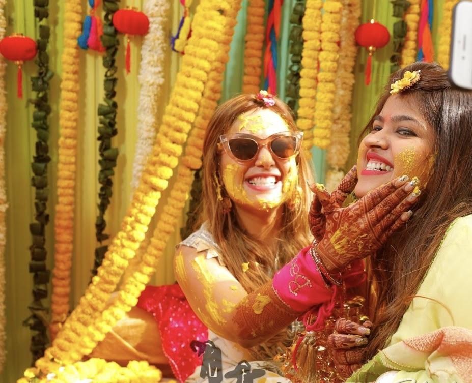 Gargi's Cute Haldi Pictures with Friend captured before Ritz Gurgaon Wedding