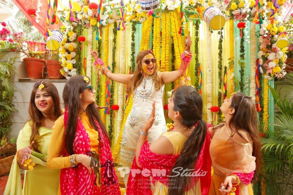Indian Haldi Ceremony Fun Bridal Portraits