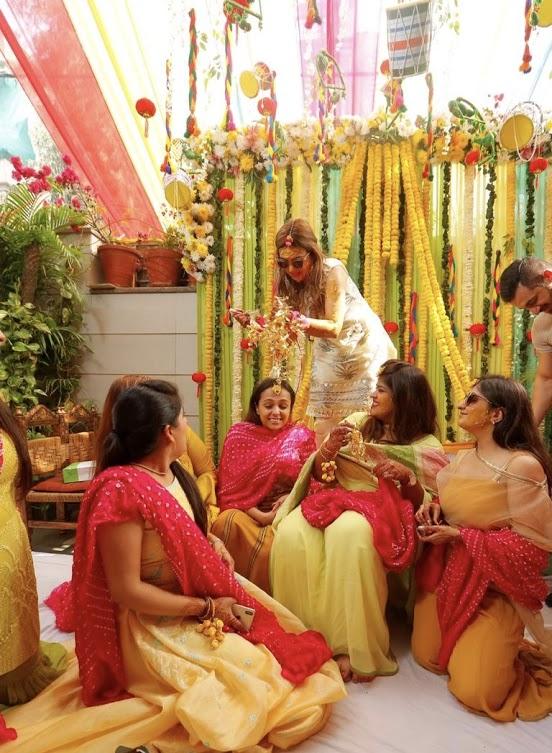 Kaleera Ceremony Portraits of Gargi with her friends captured at this Big Fat Punjabi Wedding