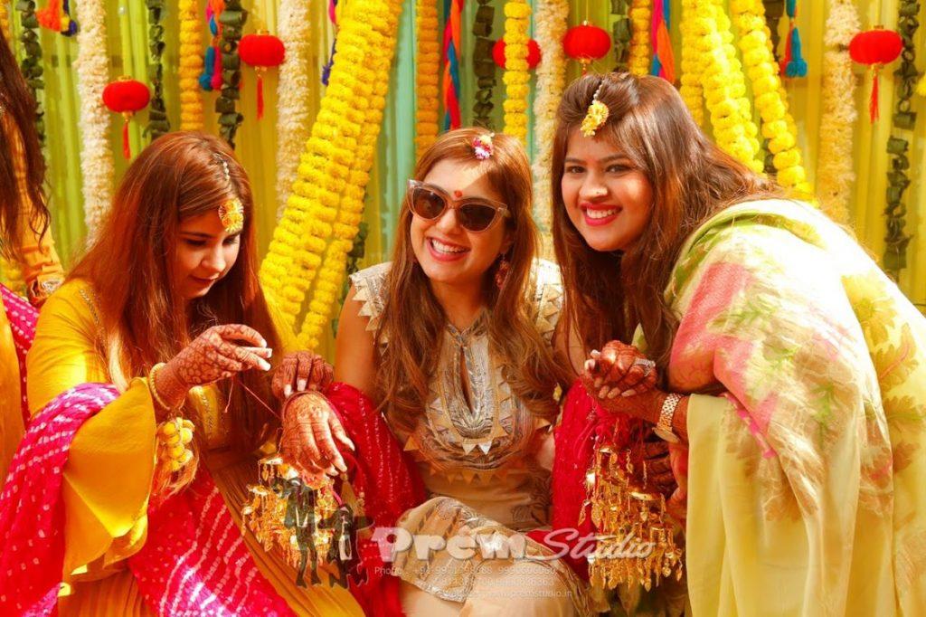 Ritz Gurgaon Wedding Kaleera Ritual Stills of Gargi with her bridesmaids